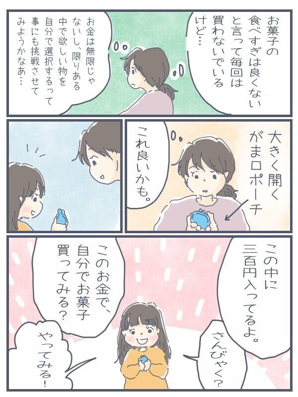 がま口ポーチに300円入れました。