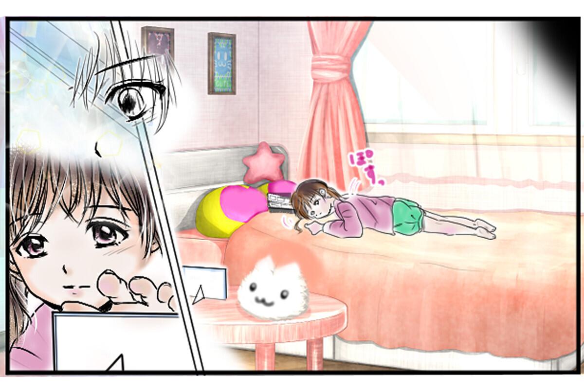 ひとりでベッドに寝転がりながら写真を見る娘