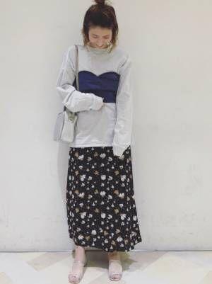 花柄スカート×ビスチェのコーデ