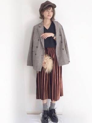 ジャケット×プリーツスカート上品コーデ