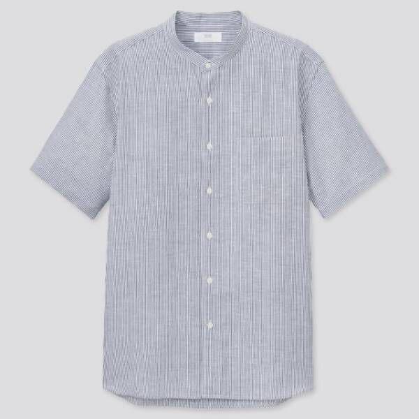 ユニクロのリネンコットンストライプスタンドカラーシャツ